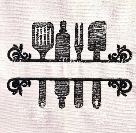 ITH Digital Embroidery Pattern for Kitchen Banner I Design, 5X7 Hoop