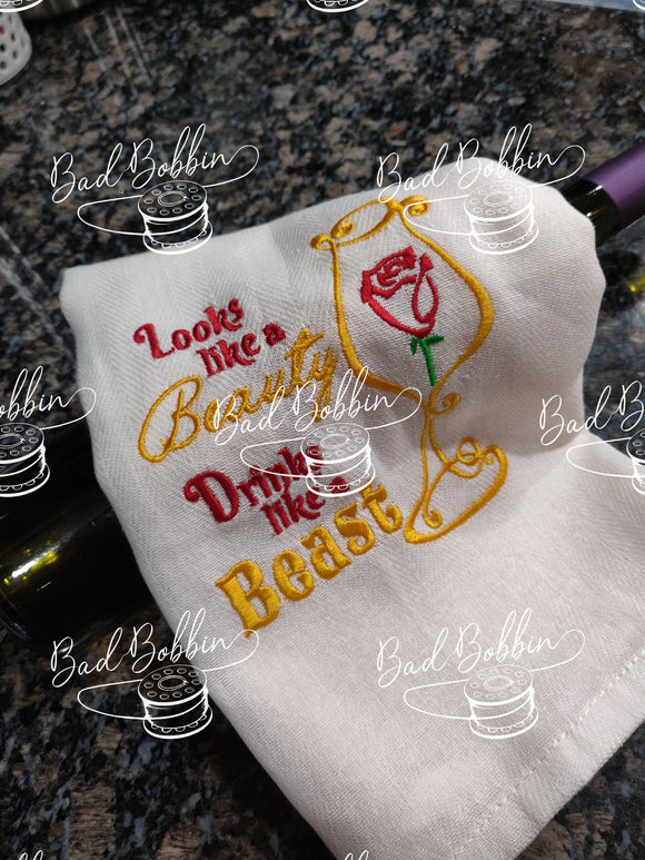 ITH Digital Embroidery Pattern for Look Beauty - Drink Beast 5X7 Design, 5X7 Hoop