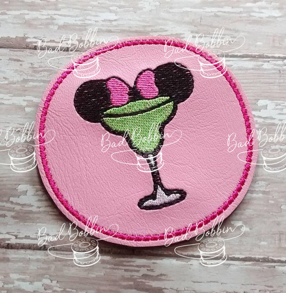 ITH Digital Embroidery Pattern for Minnie Margarita Coaster, 4X4 Hoop