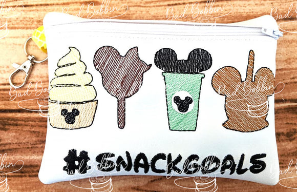 ITH Digital Embroidery Pattern for Snackgoals 5X7 lined Zipper Bag, 5X7 Hoop