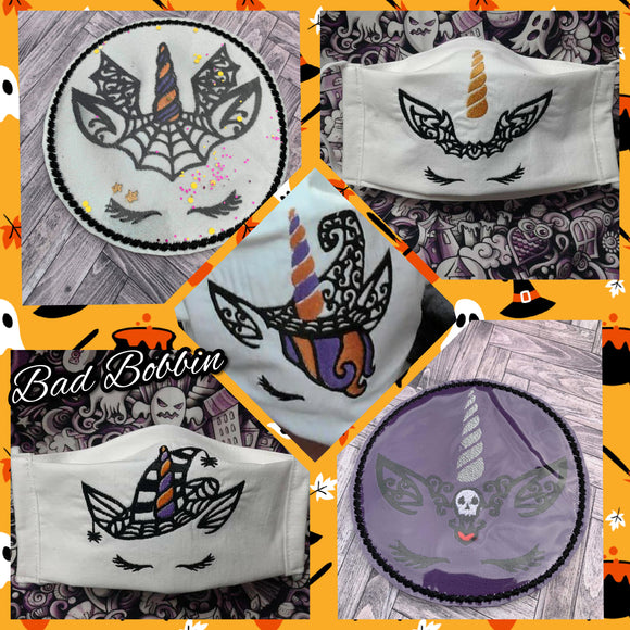 ITH Digital Embroidery Pattern for Set of 5 Halloween Unicorns 4X4 Stand Alone Designs, 4X4 Hoop