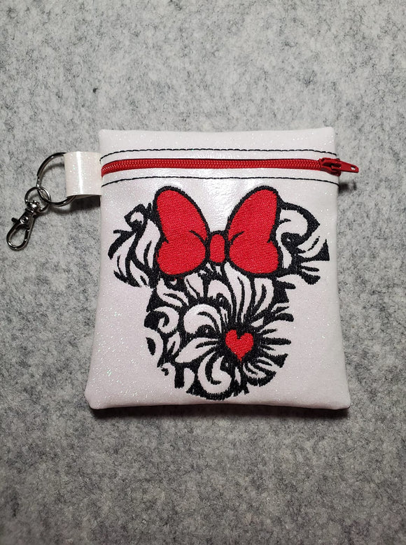 ITH Digital Embroidery Pattern for Floral Ms Mouse Cash/ Card Tall Zipper Pouch, 5X7 Hoop