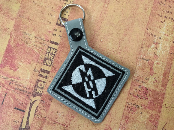 ITH Digital Embroidery Pattern for Machine Head Snap Tab / Key Chain, 4X4 Hoop