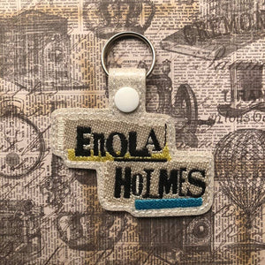 ITH Digital Embroidery Pattern for Enola Holms Snap Tab / Key Chain, 4X4 Hoop