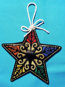 ITH Digital Embroidery Pattern for Star Ornament, 4X4 Hoop