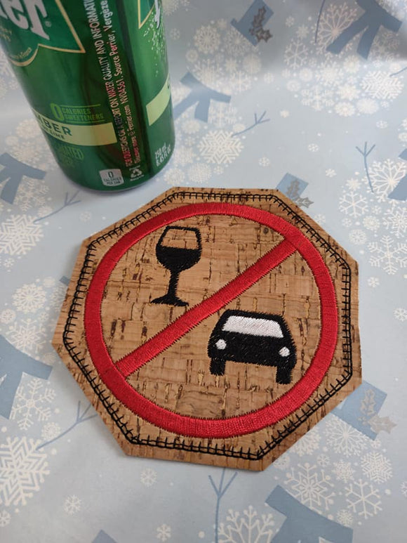 ITH Digital Embroidery Pattern for Don't Drink & Drive Coaster, 4X4 Hoop