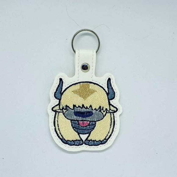 ITH Digital Embroidery Pattern for Appa Avatar Snap Tab / Keychain, 4X4 Hoop