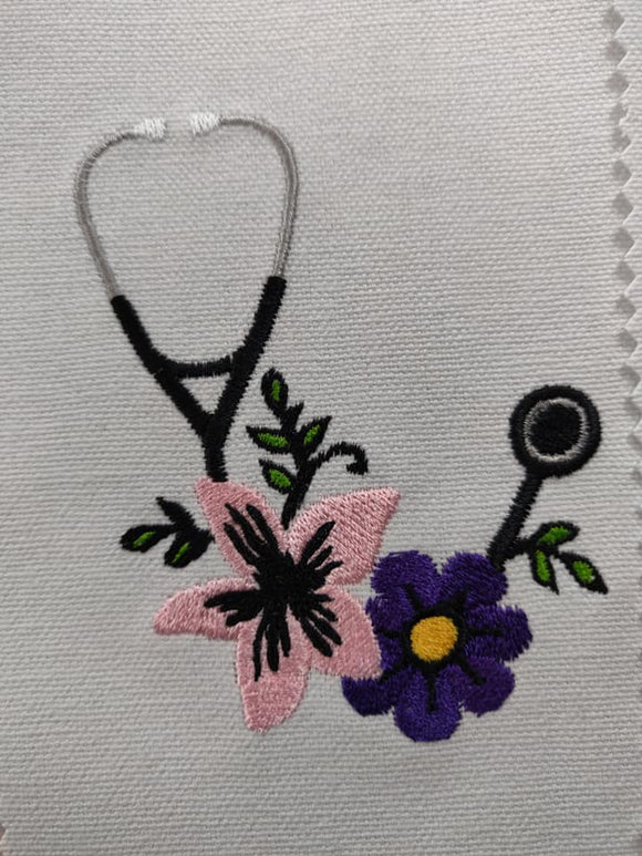 ITH Digital Embroidery Pattern for Floral Stethoscope 4X4 Design, 4X4 Hoop