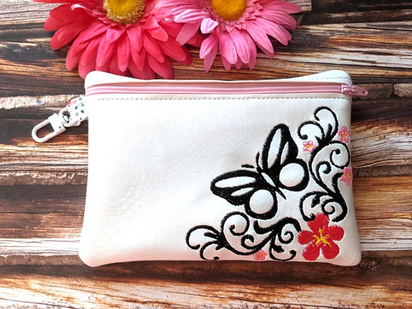 ITH Digital Embroidery Pattern for Corner Floral Butterfly Cash / Card 4.8X3.9 Zipper Pouch, 5X7 Hoop