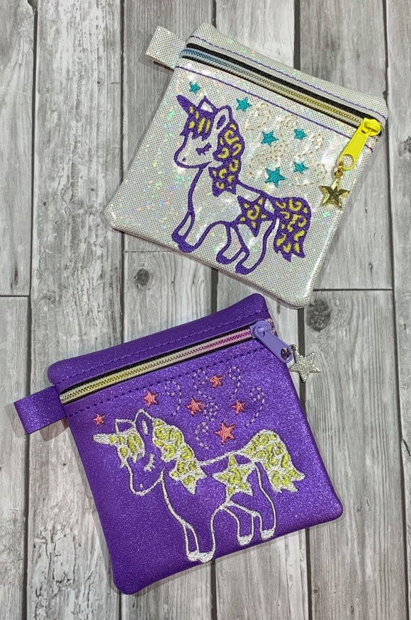 ITH Digital Embroidery Pattern for Star Unicorn 4X4 Zipper Pouch, 4X4 Hoop