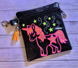 ITH Digital Embroidery Pattern for Star Unicorn Cash Card Tall 4.5X5 Zipper Pouch, 5X7 Hoop