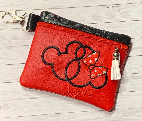ITH Digital Embroidery Pattern for Mouse Love Cash / Card 3.9X4.8 Zipper Pouch, 5X7 Hoop