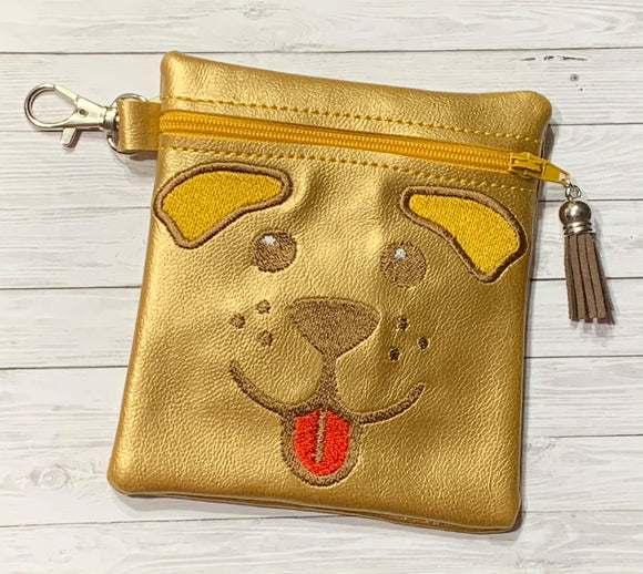 ITH Digital Embroidery Pattern for Pup Flop Ears Cash Card Tall 4.5 X 5 Zipper Pouch, 5X7 Hoop
