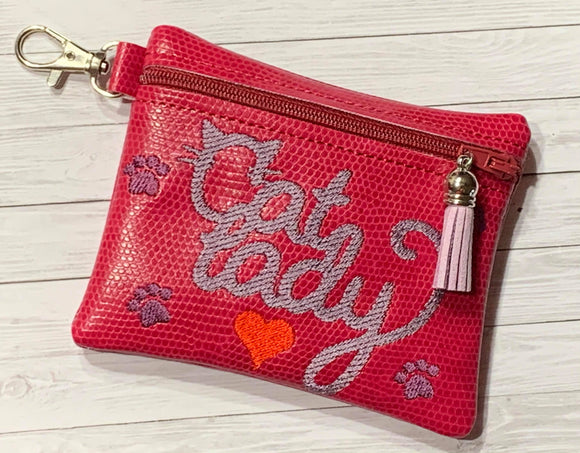 ITH Digital Embroidery Pattern for Cat Lady Cash Card 4.8X3.9 Zipper Pouch, 5X7 Hoop