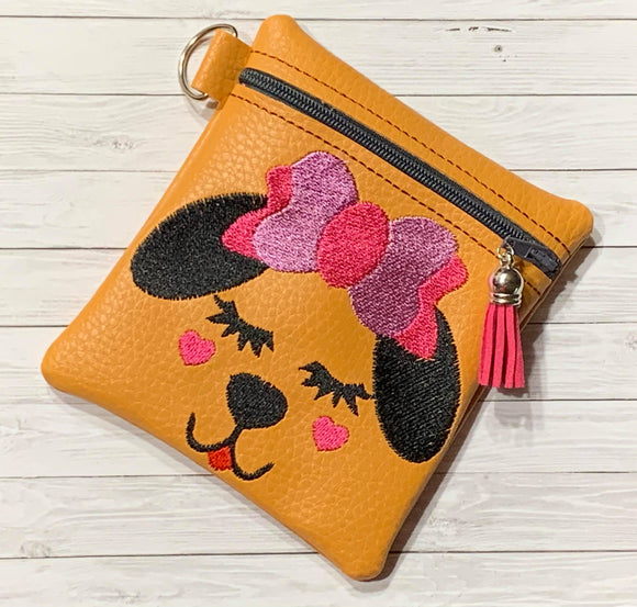 ITH Digital Embroidery Pattern for Pup with Bow Cash Card Tall Zipper Pouch 4.5X5, 5X7 Hoop