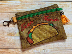 ITH Digital Embroidery Pattern for Taco Funds Cash Card Zipper Pouch 4.8 X 3.9, 5X7 Hoop