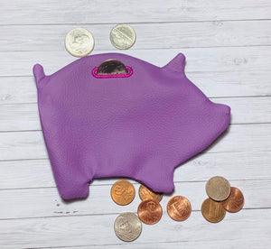 ITH Digital Embroidery Pattern for Piggy Bank Zipper Pouch Turned, 5X7 Hoop