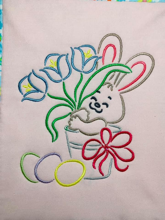 ITH Digital Embroidery Pattern for Bunny in Bucket Satin Stitch Stand Alone design, 5X7 Hoop