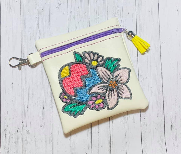 ITH Digital Embroidery Pattern for Floral Easter Egg Cash Card Tall Zipper Pouch, 5X7 Hoop