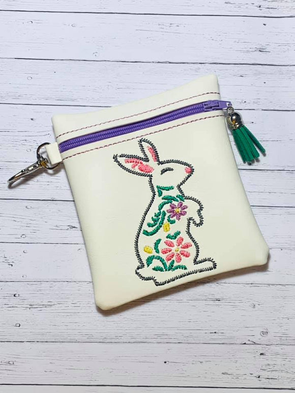 ITH Digital Embroidery Pattern for Floral Bunny Cash Card Tall 4.5X5 Zipper Pouch, 5X7 Hoop