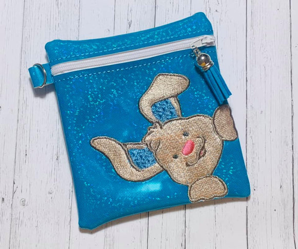 ITH Digital Embroidery Pattern for Corner Bunny Cash Card Tall Zipper Pouch, 5X7 Hoop