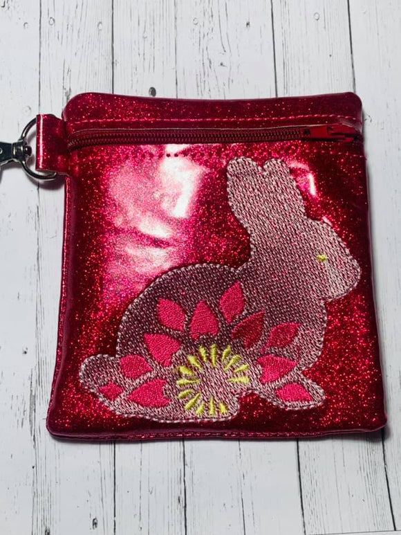 ITH Digital Embroidery Pattern for Sketch Bunny Burst Cash Card Tall Zipper Pouch, 5X7 Hoop