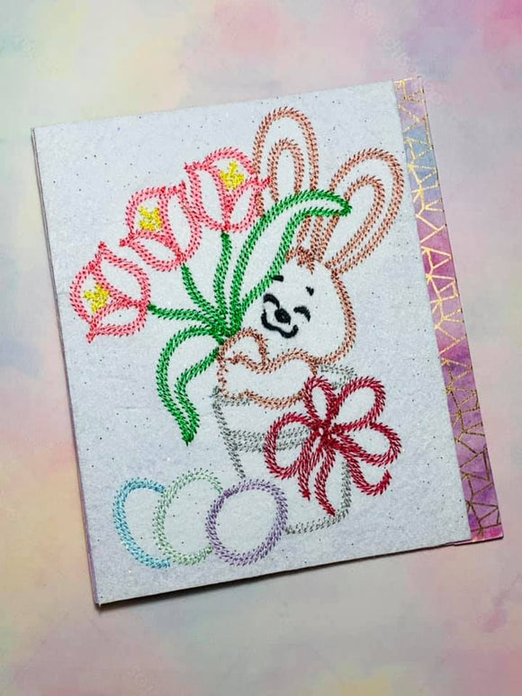 ITH Digital Embroidery Pattern for Bunny in Bucket Stem Stitch Stand Alone Design , 5X7 Hoop