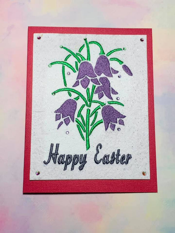 ITH Digital Embroidery Pattern for Happy Easter Lily Stand Alone, 5X7 Hoop