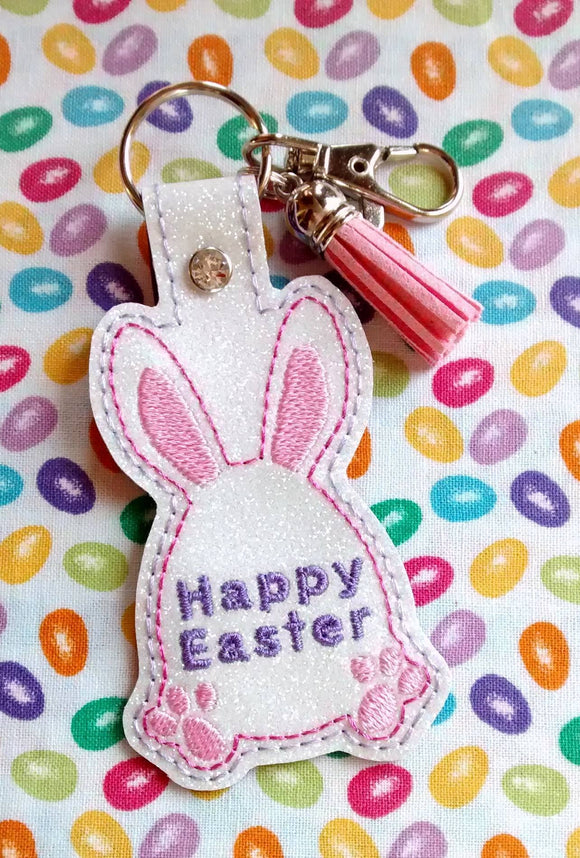 ITH Digital Embroidery Pattern for Happy Easter Bunny Snap Tab / Keychain, 4X4 Hoop