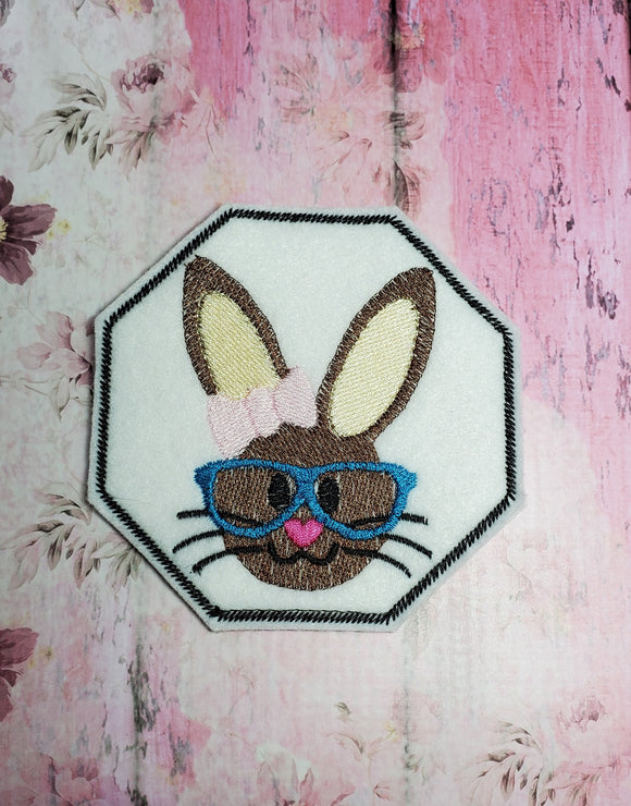 ITH Digital Embroidery Pattern for She Bunny Head Coaster, 4X4 Hoop
