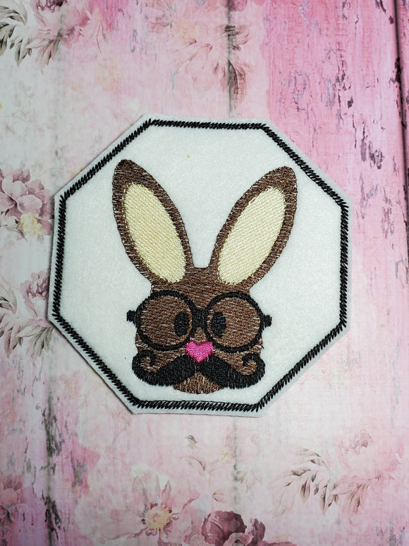 ITH Digital Embroidery Pattern for He Bunny Head Coaster, 4X4 Hoop