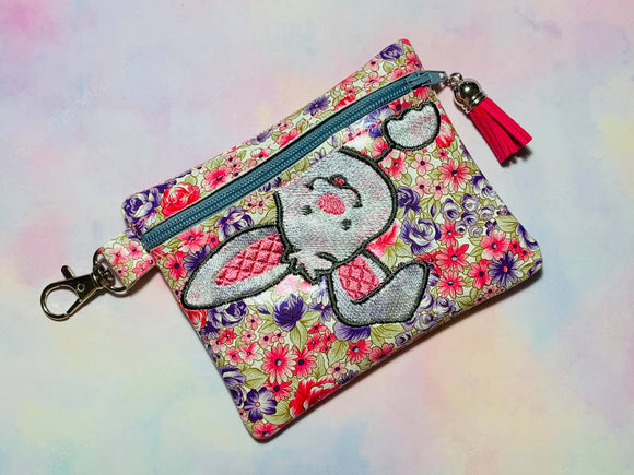 ITH Digital Embroidery pattern for Dropping in Bunny Cash Card 4.8X3.9 Zipper Pouch, 5X7 Hoop