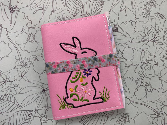 ITH Digital Embroidery Pattern for Floral Bunny Mini Comp Notebook, 5X7 Hoop