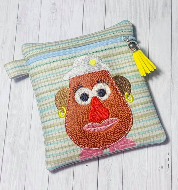 ITH Digital Embroidery Pattern for Mrs Potato Head Applique Tall Cash Card 4.5x5 Zipper Pouch, 5X7 Hoop