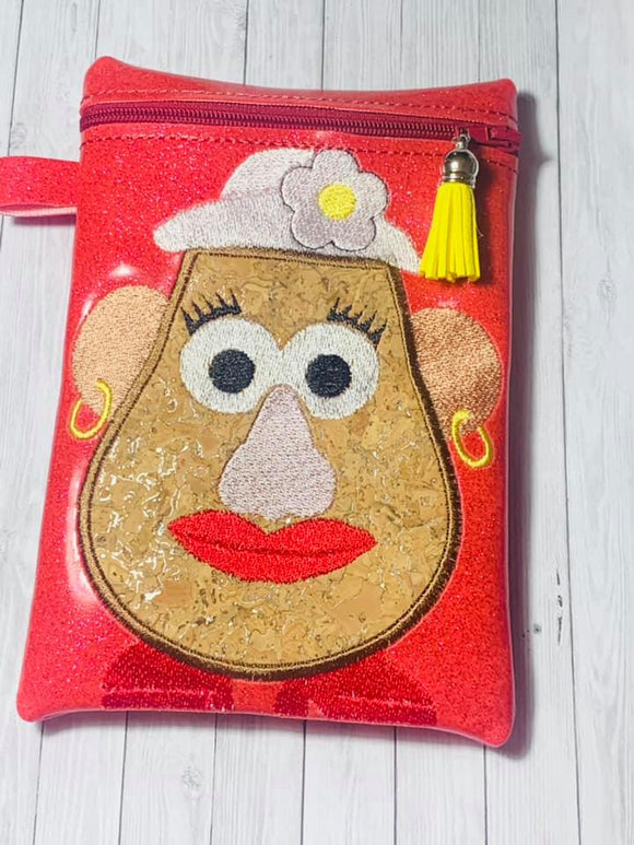 ITH Digital Embroidery Pattern for Mrs Potato Head Applique 5X7 Lined Zipper Bag, 5X7 Hoop