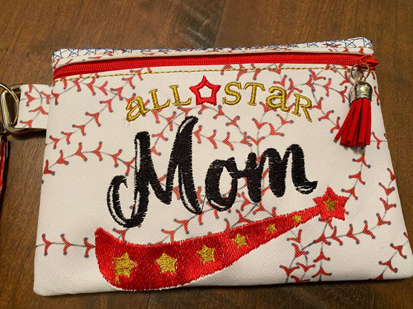ITH Digital Embroidery Pattern for All Star Mom 5X7 Zipper Bag Lined, 5X7 Hoop