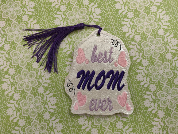 ITH Digital Embroidery Pattern for Best Mom Ever with Hearts Bookmark, 4X4 Hoop