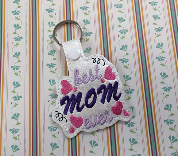 ITH Digital Embroidery Pattern for Best Mom Ever with Hearts Snap Tab / Keychain, 4X4 Hoop