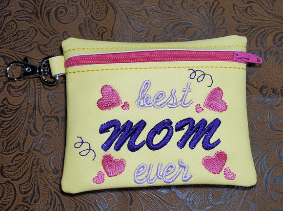 ITH Digital Embroidery Pattern for Best Mom Ever with Hearts Cash Card Zipper Pouch 4.8X3.9, 5X7 Hoop