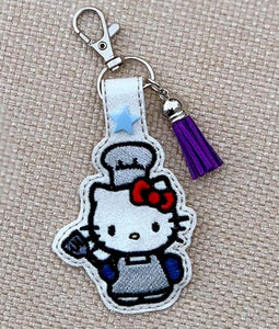 ITH Digital Embroidery Pattern For Cat In Costume Chef Snap Tab / Key Chain, 4X4 Hoop