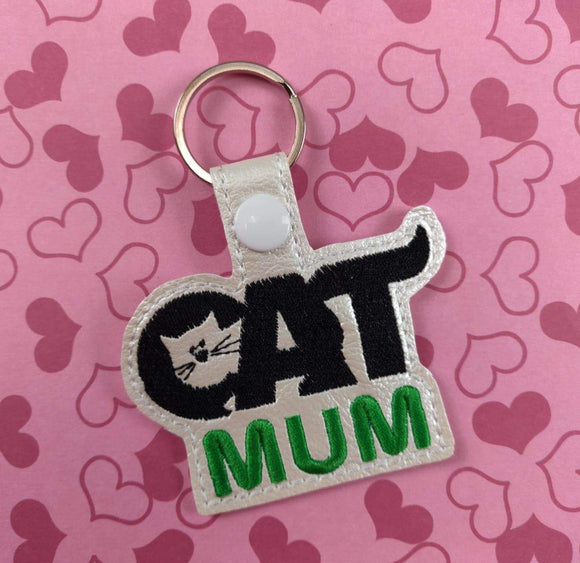 ITH Digital Embroidery Pattern for Cat Mum Snap Tab / Keychain, 4X4 Hoop