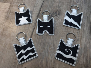 ITH Digital Embroidery Pattern for Warriors Clan Bundle Pack Snap Tab/ Key Chain, 4X4 hoop