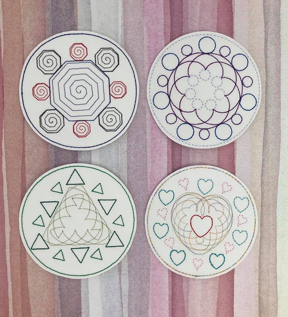 ITH Digital Embroidery Pattern for Geometric Designs Coasters set of 4, 4X4 Hoop