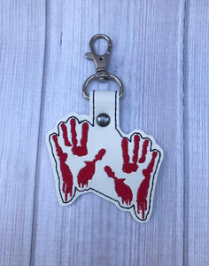 ITH Digital Embroidery Pattern for Dexter Bloody Hands Snap Tab / Key Chain, 4X4 Hoop