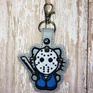 ITH Digital Embroidery Pattern For Cat Jason 13th Snap Tab / Key Chain, 4X4 Hoop