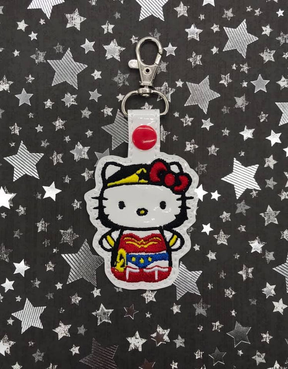 ITH Digital Embroidery Pattern For Cat in W Woman Costume Snap Tab / Key Chain, 4X4 Hoop