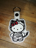 ITH Digital Embroidery Pattern For Cat in Zebra / Tiger Costume Snap Tab / Key Chain, 4X4 Hoop