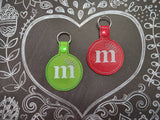 ITH Digital Embroidery Pattern for Plain m&m Snap Tab / Key Chain, 4X4 Hoop