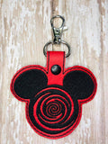 ITH Digital Embroidery Pattern for Twilight Zone Mr Mouse Snap Tab / Key Chain, 4X4 Hoop