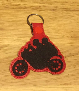 ITH Digital Embroidery Pattern for Street Bike Couple Snap Tab / Key Chain, 4X4 Hoop